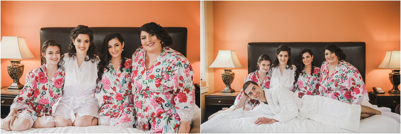 Wisconsin Weddings, Wisconsin Wedding Photography, Bridesmaid Getting Ready Photos, Floral Robes, Wedding Day Prep, The Clarke Hotel, Wisconsin Bride