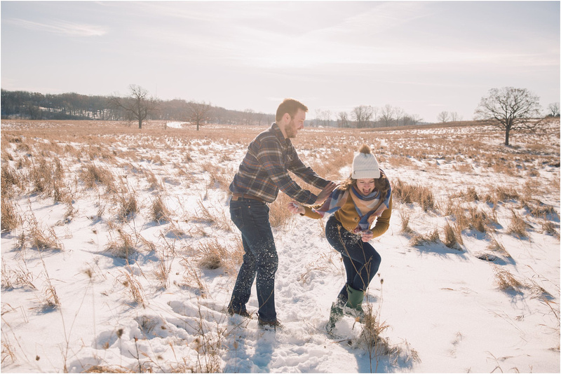 Winter Engagement - Snowy Wisconsin Winter Engagement - Memory Lane Photography